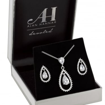 Designer Silver Open Pear Drop Jewellery Set In A Gift Box