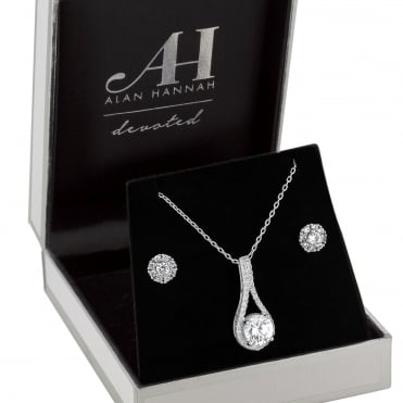 Designer Silver Crystal Pear Drop Jewellery Set In A Gift Box
