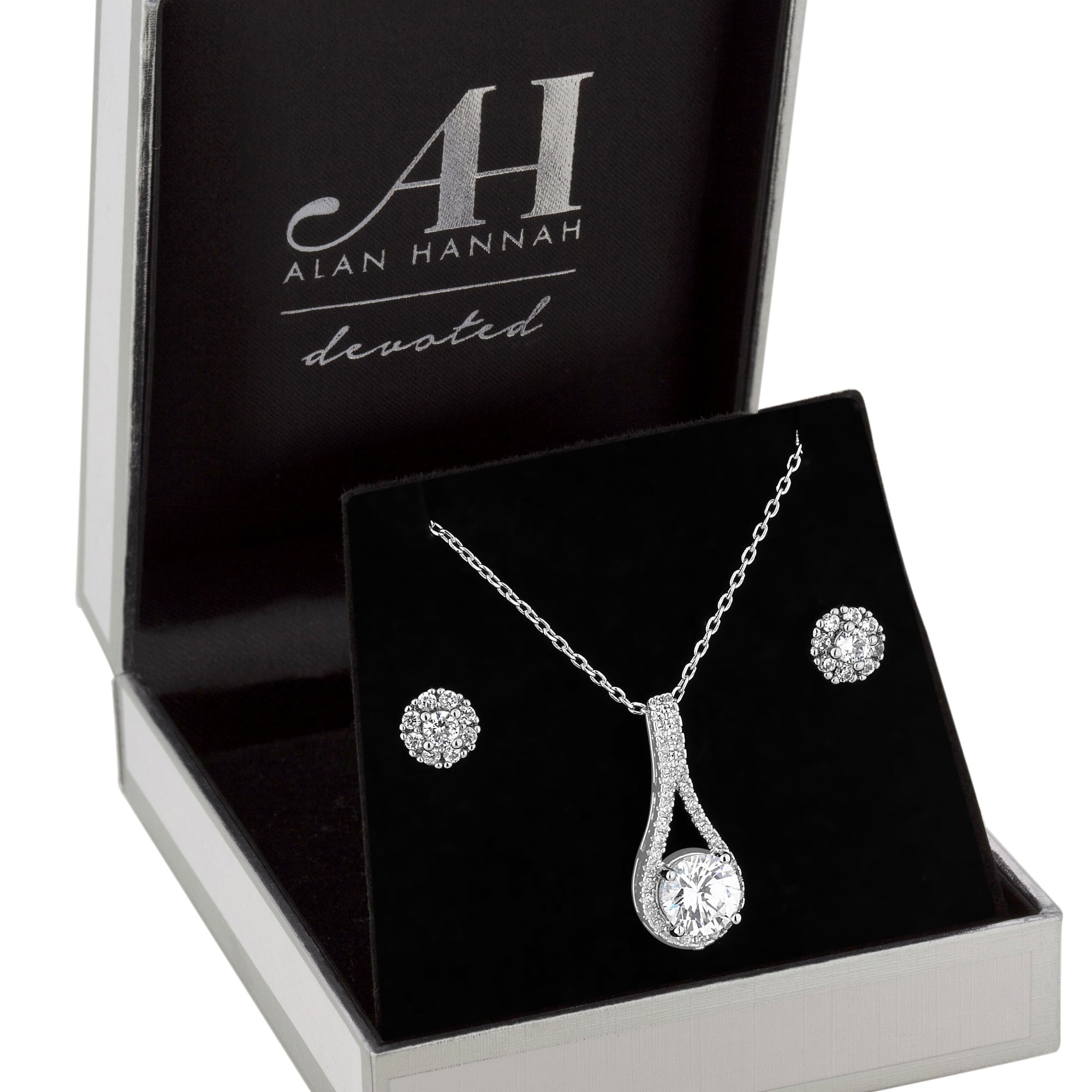 Alan Hannah Devoted Designer Silver Crystal Pear Drop