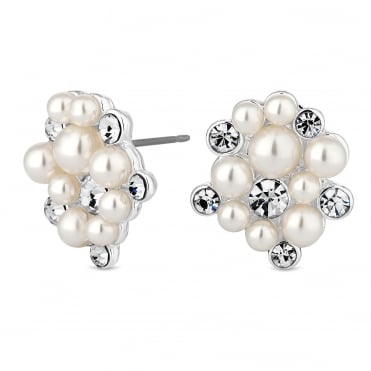 Designer Silver Pearl And Crystal Cluster Stud Earring