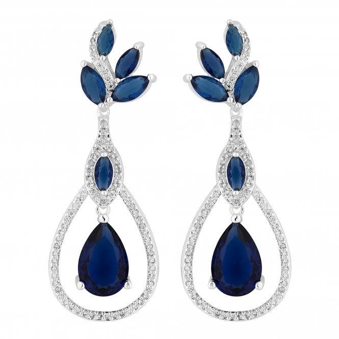 Designer Silver Blue Cubic Zirconia Peardrop Statement Earring
