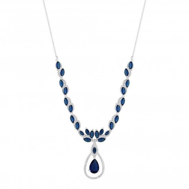 Designer Silver Blue Cubic Zirconia Peardrop Statement Necklace