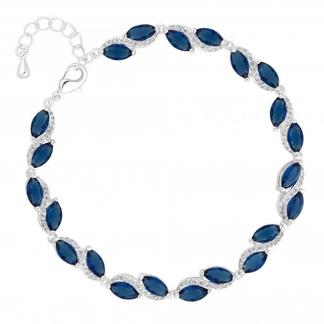 Designer Silver Blue Cubic Zirconia Swirl Bracelet
