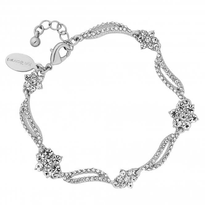 Designer Silver Crystal Floral Wave Bracelet