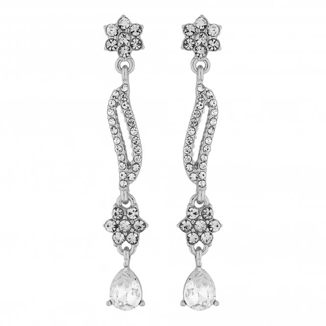 Designer Silver Crystal Floral Wave Drop Earring