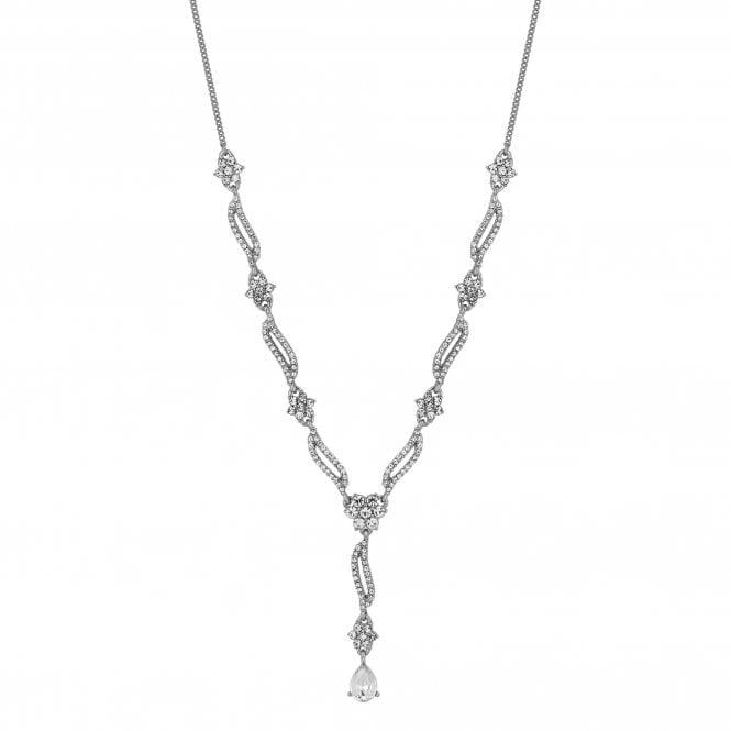 Designer Silver Crystal Floral Wave Necklace