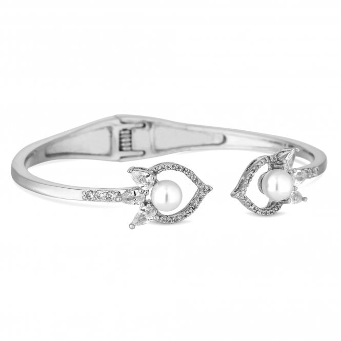 Designer Silver Cubic Zirconia And Pearl Bangle