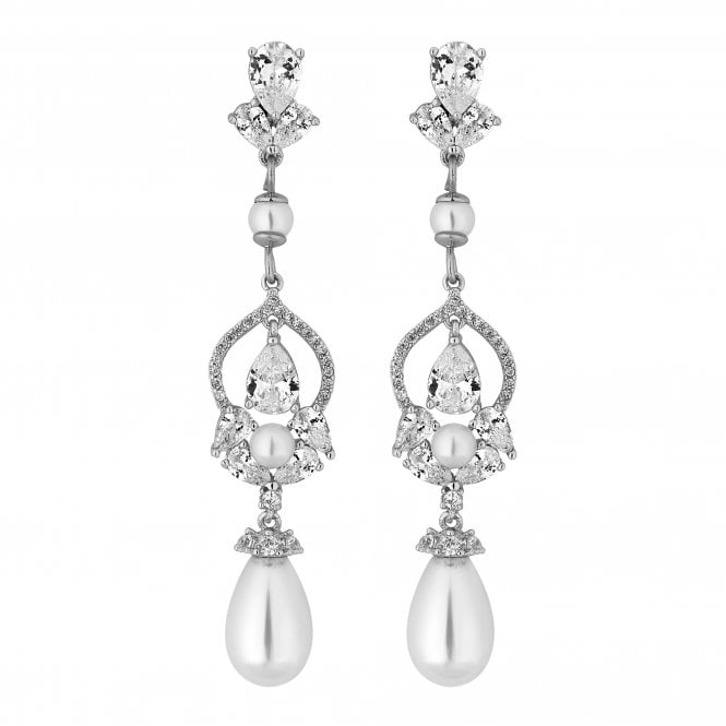 Designer Silver Cubic Zirconia And Pearl Drop Earring