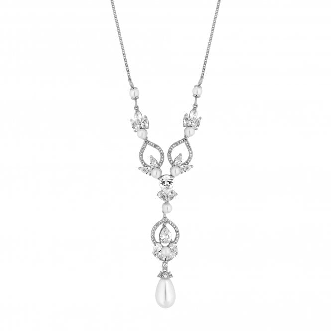 Designer Silver Cubic Zirconia And Pearl Pendant Necklace