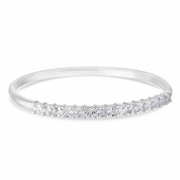 Designer Silver Cubic Zirconia Bangle