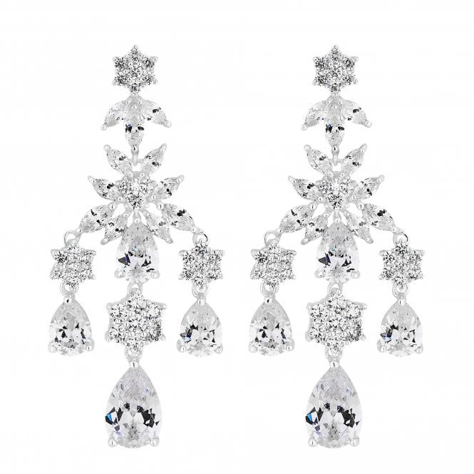 Designer Silver Cubic Zirconia Floral Drop Earring