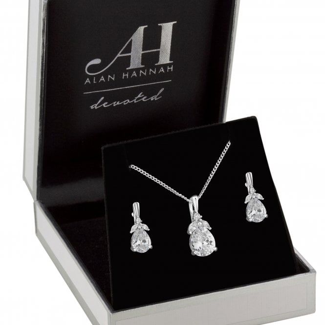 Designer Silver Cubic Zirconia Flower Jewellery Set