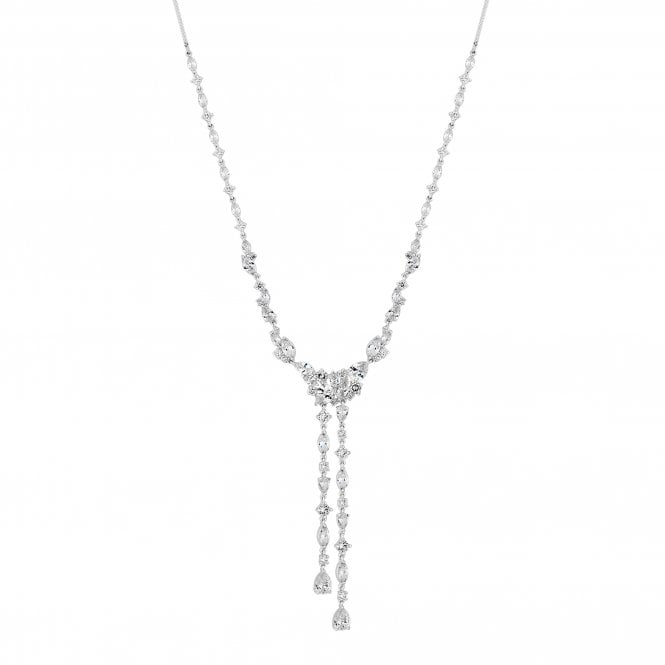 Designer Silver Cubic Zirconia Leaf Double Drop Lariat Necklace