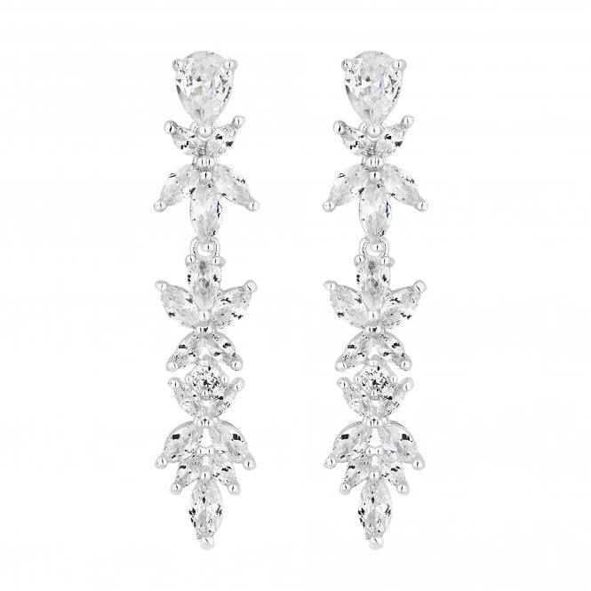 Designer Silver Cubic Zirconia Leaf Drop Earring