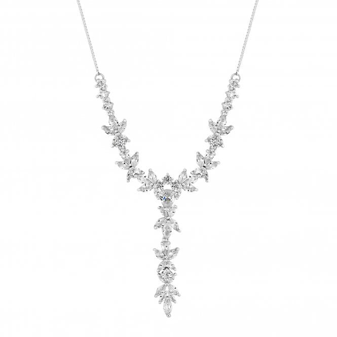 Designer Silver Cubic Zirconia Leaf Drop Lariat Necklace