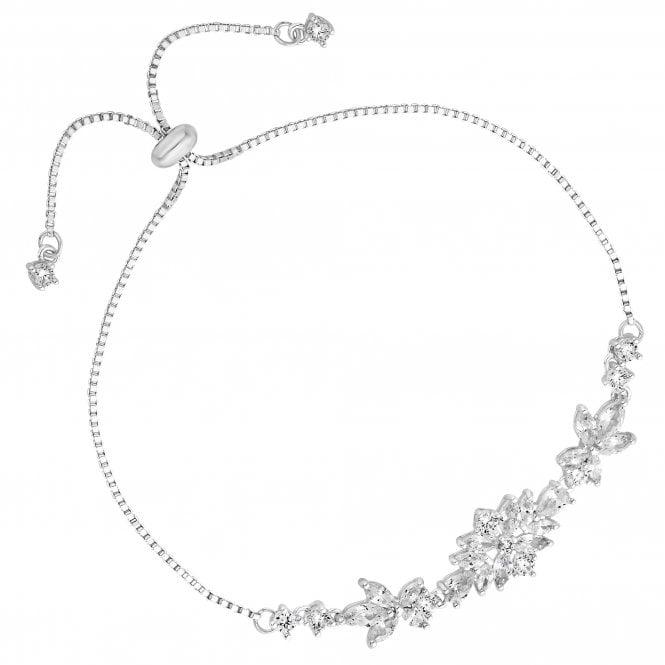 Designer Silver Cubic Zirconia Leaf Toggle Bracelet