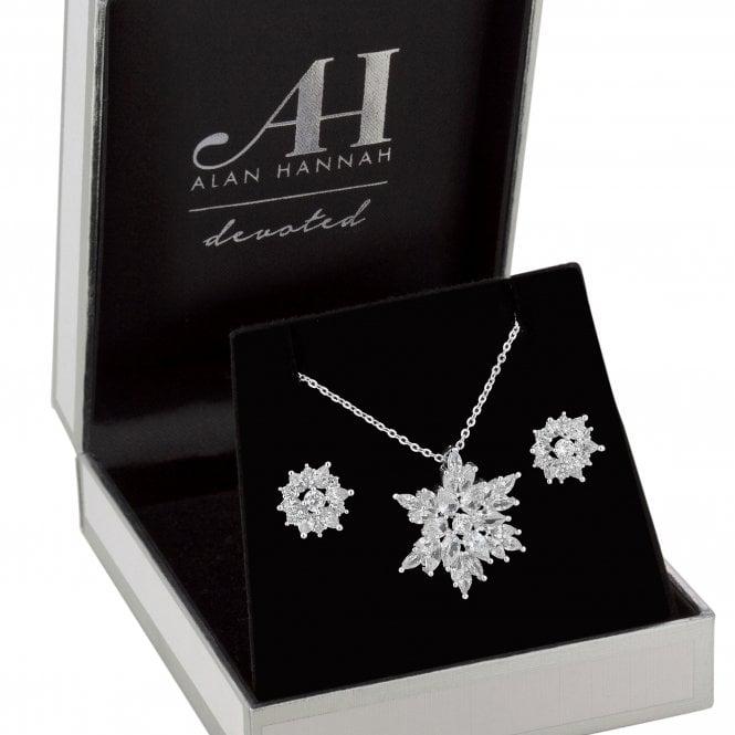 Designer Silver Cubic Zirconia Snowflake Jewellery Set