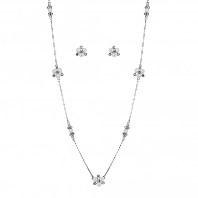 Designer Silver Pearl And Crystal Cluster Jewellery Set