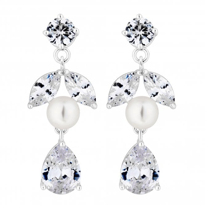 Designer Silver Pearl And Cubic Zirconia Pear Drop Earring