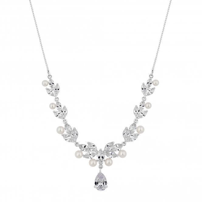 Designer Silver Pearl And Cubic Zirconia Pear Drop Necklace