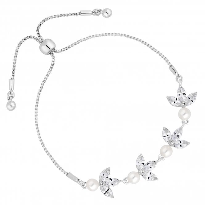 Designer Silver Pearl And Cubic Zirconia Pear Drop Toggle Bracelet