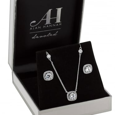 Designer Silver Square Halo Cubic Zirconia Jewellery Set In A Gift Box