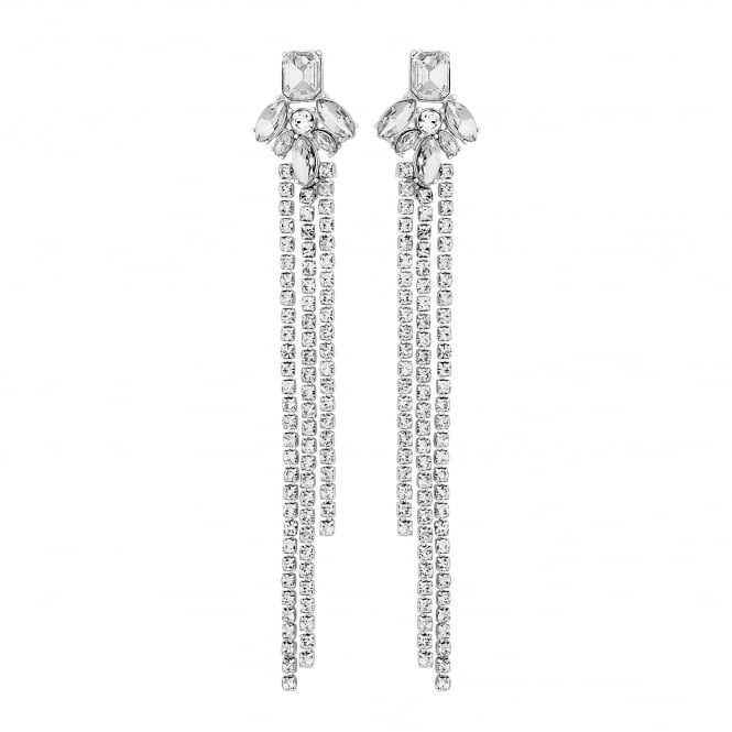 Silver Diamante Chain Drop Earring