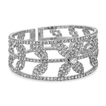 Diamante crystal floral cuff bangle