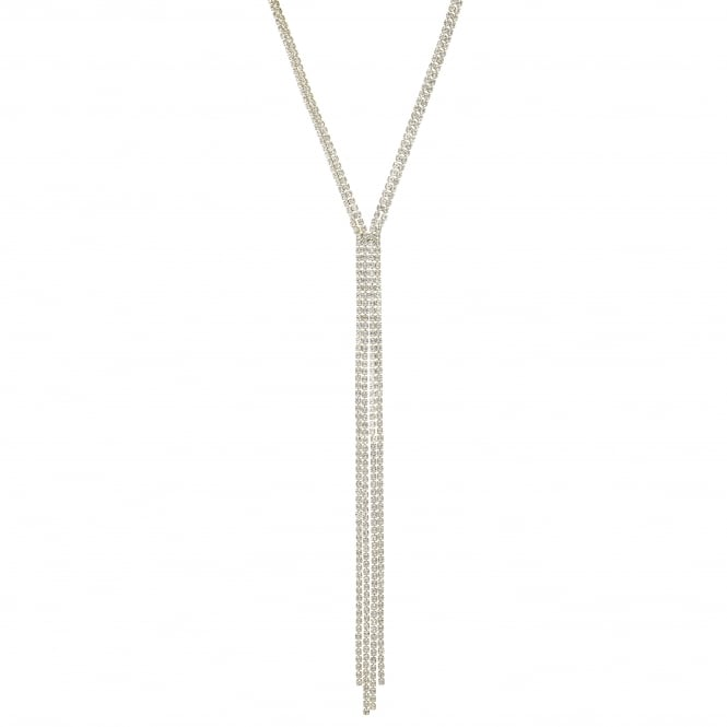 Gold Diamante Crystal Lariat Necklace