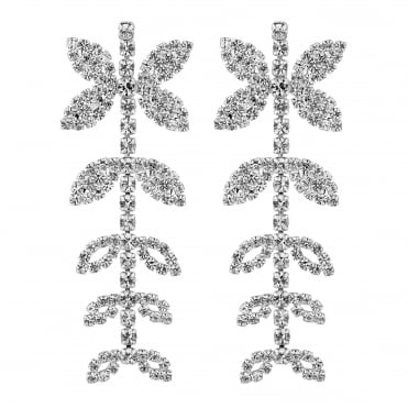 Diamante crystal leaf drop earring