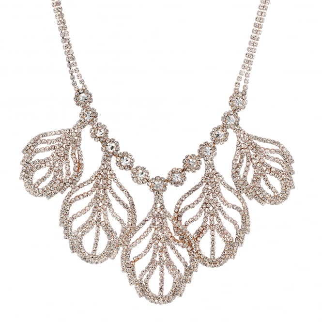 Rose Gold Crystal Leaf Statement Necklace