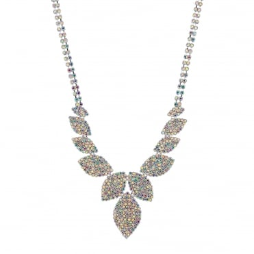 Silver Diamante Leaf Statement Necklace