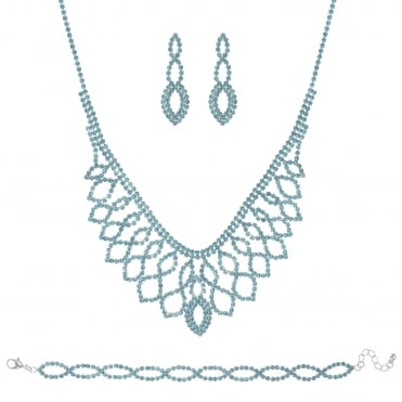 Silver Blue Diamante Loop Jewellery Set