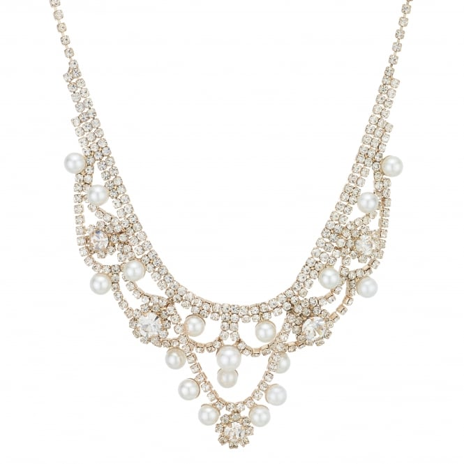 MOOD By Jon Richard Rose Gold Diamante And Pearl Statement Necklace