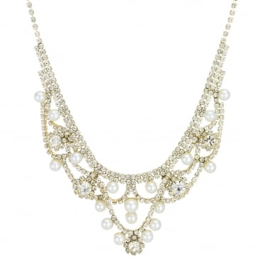 Gold Diamante Pearl Statement Necklace