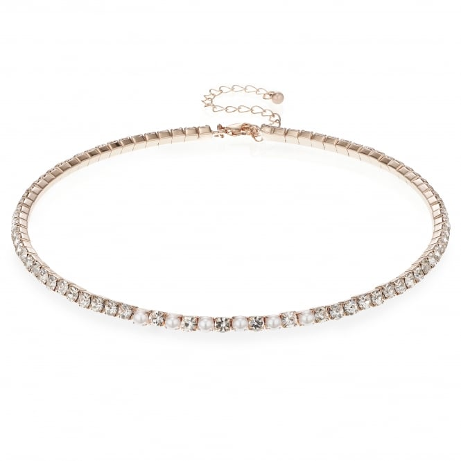 Rose Gold Diamante And Pearl Collar Necklace