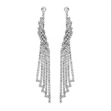 Silver Diamante Twist Drop Earrings