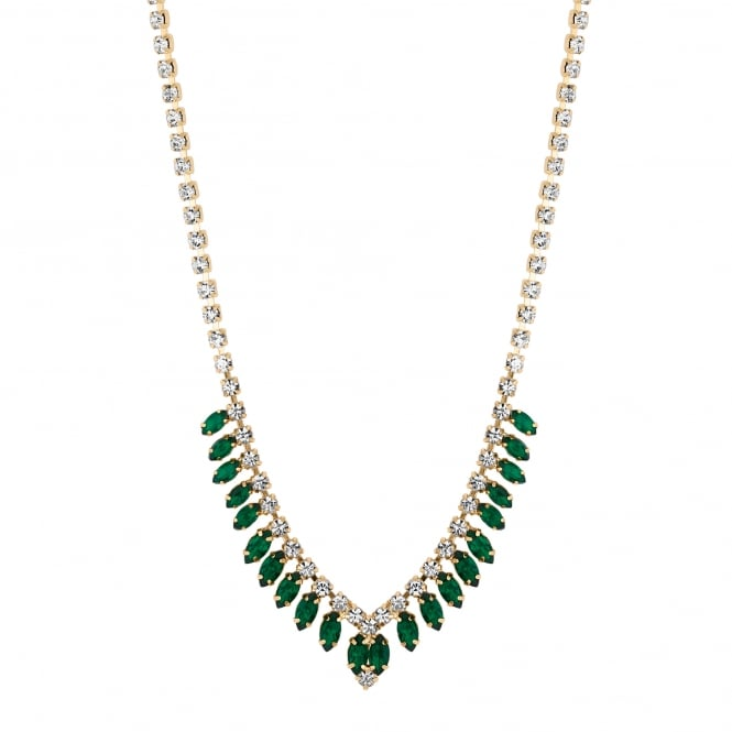 Gold Plated Green Diamante V Collar Necklace