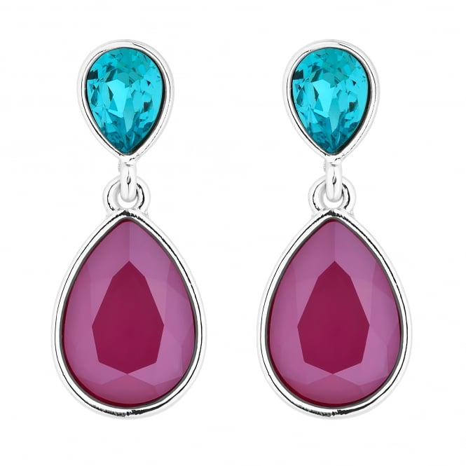 Jon Richard made with Swarovski® crystals Silver Red And Blue Double Pear Drop Earring Embellished With Swarovski® Crystals