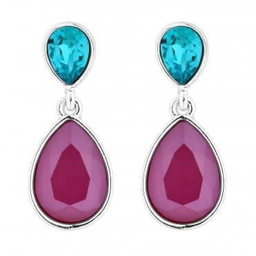 Silver Red And Blue Double Pear Drop Earring Embellished With Swarovski® Crystals