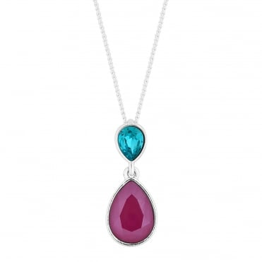 Silver Red And Blue Double Pear Drop Necklace Embellished With Swarovski® Crystals