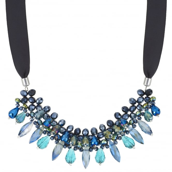 Blue Bead And Black Ribbon Necklace