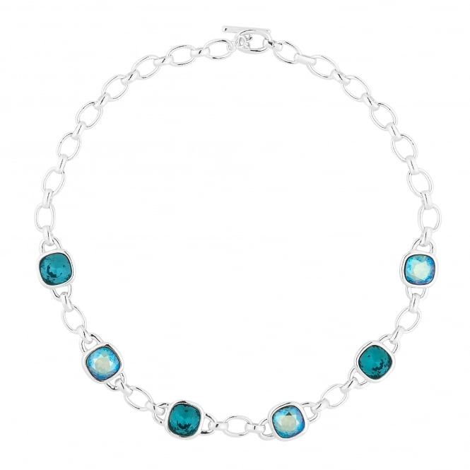 Silver Links And Blue Faceted Crystal Necklace Embellished With Swarovski Crystals