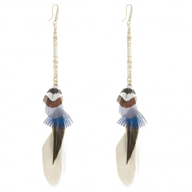 MOOD By Jon Richard Gold Feather Chain Drop Earring