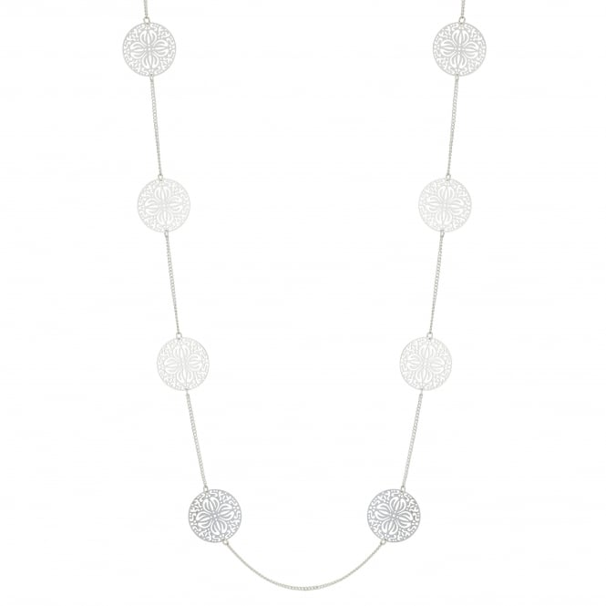MOOD By Jon Richard Silver Filigree Disc Long Necklace