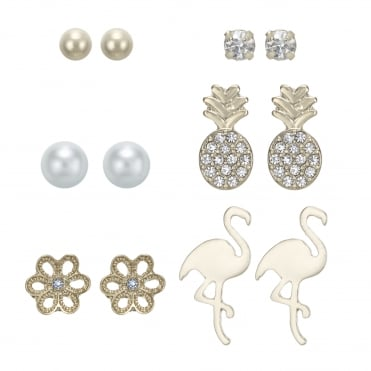 Gold Flamingo Stud Earring Set