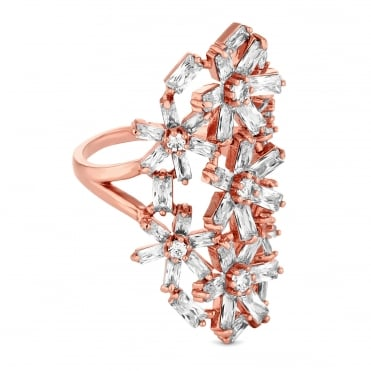 Rose Gold Plated Cubic Zirconia Floral Cluster Long Statement Ring