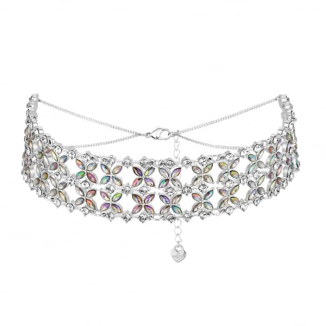 Lipsy Floral crystal choker necklace