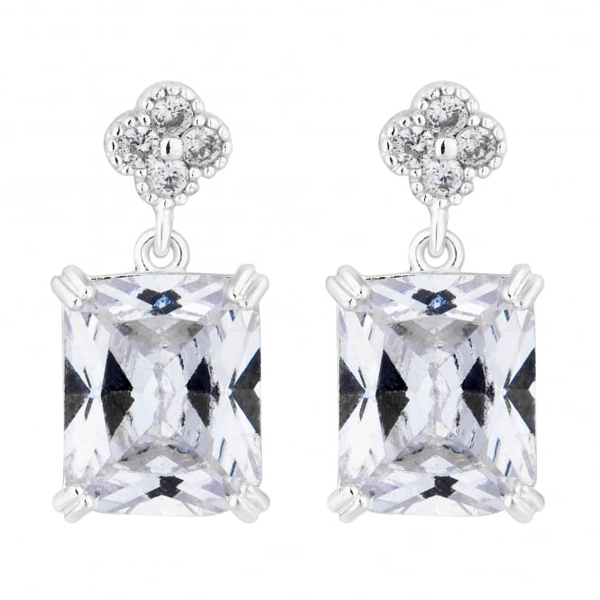 Jon Richard Floral crystal square drop earring