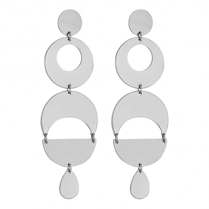 Silver Geometric Statement Drop Earring